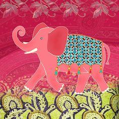 Pink Elephant - Fun & Whimsical Art Print 12x12 Wall Art wall art, art prints, whimsic art, whimsical art, print 12x12
