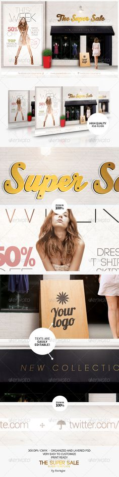 The Super Sale Flyer Template / $6. ***This flyer is perfect for the promotion of Shops/Boutiques, Sales/Promotions, Fashion Shows, New Collections, Events or Whatever you Want!.***