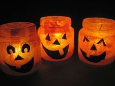 Halloween votives made from baby food jars