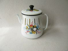 Vintage Enamel Tea Pot Kettle