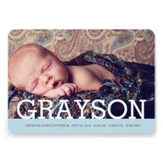 Thoroughly modern and simply elegant, this design is a perfect way to introduce your sweet little boy. Features his first name in bold white typography with so baby blue accent. Two large photos of your baby - one on the front and one on the back. The front also holds baby's birth information, and on the back a special text area to be personalized with parents and family info. A lovely modern introduction of your baby boy to family and friends. #baby #birth #announcement #modern #simple ...