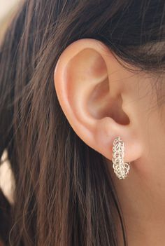 """Sterling Silver Chainmaille Earrings """"Swag"""""""