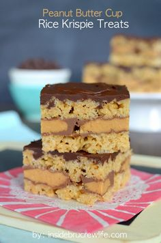 Peanut Butter Cup Rice Krispie Treats - peanut butter krispie treats with a fun peanut butter cup middle butter cup, krispie treats, cup rice, krispi treat, peanut butter