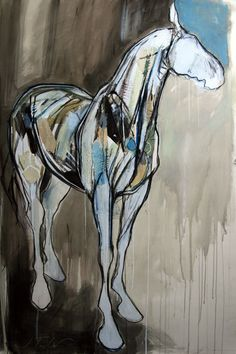 "Fearless Horse  32"" x 59"", Mixed Media"