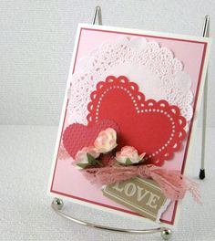 card idea, handstamp card, valentine day cards, card romant, romant rose