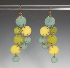 Asymmetrical Chain Mail Earrings in polymer clay,  by the amazing Louise Fischer Cozzi, artist