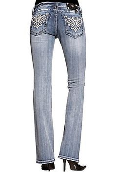 Miss Me Ladies Light Stonewash Cream Leather Paisley Butterfly Boot Cut Jean