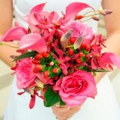 Beautiful Pink Spring wedding bouquet rose calla lily