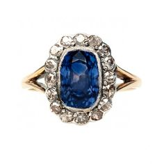 vintage edwardian sapphire and diamond ring / trumpet & horn