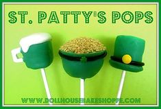 St. Patrick's Day Pops cupcake recipes, edible crafts, saint patricks day, marshmallow pops, cake bites, cake pops, st patricks day, top hats, craft ideas