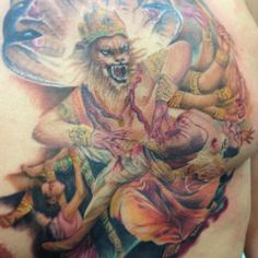 Narasimha, Hindu god tattoo.  Beautiful tattoo by Ink In Tattoo, check out their Facebook page at https://www.facebook.com/InkInTattoo