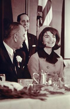 Vice-President Lyndon B. Johnson and First Lady Jackie Kennedy enjoying a Prayer Breakfast at the Hotel Texas