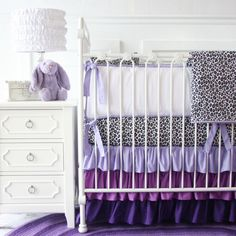 Hey, I found this really awesome Etsy listing at http://www.etsy.com/listing/166215945/purple-leopard-ruffle-baby-bedding-set