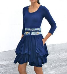 Check out the deal on Organic Tshirt Dress with Ruffled Layered Skirt in Bamboo Cotton Knit - Available in Navy, Black and at Eco First Art