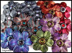 2 Good Claymates: Vintage Style Jewel-tone Flowers