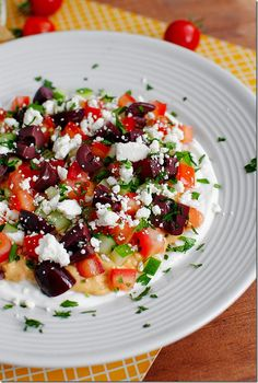 No Heat Required: Greek Dip Platter.  Think traditional mexican layer dip - greek style.
