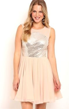 Deb Shops Short #Homecoming Dress with Sequin Illusion Bodice and Deep V Back $65.00