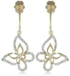 Women's #Fashion #Jewelry: Diamonds and Gemstones: 10k Yellow Gold Diamond #Butterfly #Earrings (1/10 Cttw, I-J Color, I2-I3 Clarity): Jewelry