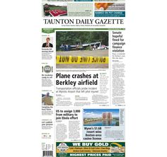 The front page of the Taunton Daily Gazette for Wednesday, Sept. 17, 2014.