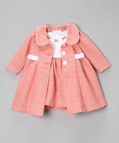 Peach & White Bow Bouclé Dress & Swing Coat