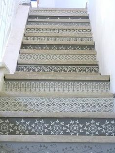 interior, basement stairs, pattern, stairway, stair risers, hous, painted stairs, stencil, design