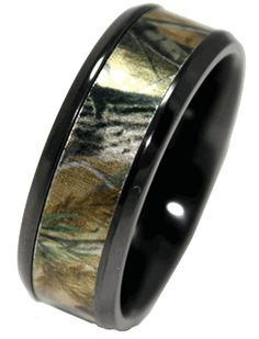 Camo Wedding Ring (Made with High-Tech Black Ceramic). I have a feeling someone may be interested in this...