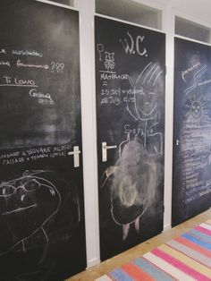 Sign us up for the #chalkboard wall! Elena & Judd's Cozy Amsterdam Apartment via @Apartment Therapy