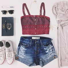 Zelihas Blog: Cute Summer Outfits find more women fashion ideas on http://www.misspool.com find more women fashion ideas on www.misspool.com Maroon Crop, Fashion, Summer Looks, Crop Tops, Summer Style, Clothing, Cute Summer Outfits, Denim Shorts, Wear