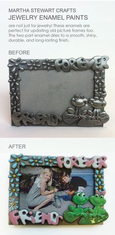 I LOVE the Martha Stewart Enamel Paints! I bought this boring frame at Goodwill for $1 and made it so bright and fun! I can't wait to use the enamel on other items :)