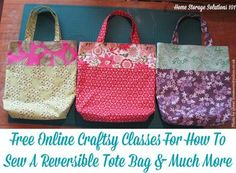 Free online Craftsy mini-classes for how to sew a bag, including a tote bag, zippered pouch, drawstring bag and bucket bag. So many uses for these bags! {on Home Storage Solutions 101} #affiliate