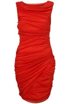 Red Mesh Ruched Bodycon Dress - StyleSays