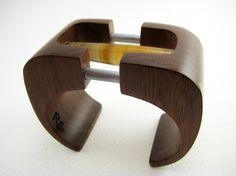 Carved Wood Bracelet / Cuff with Stone and by RamshackleStudio, $410.00