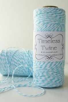 Timeless Bakers Twine - Aqua Blue & White