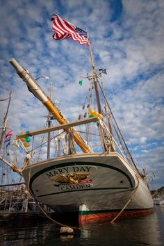 Happy birthday, Schooner Mary Day! - my Mom's favorite schooner, she has red sails and would overnight a few nights each summer in our harbor at Spruce Head Island, Maine.