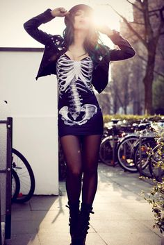 dope outfits, fashion dresses, style, mini dresses, bone, skeletons, party outfits, skeleton dress, little black dresses
