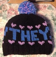 THEY/THEM Pronoun Hat by CoziesByElliott on Etsy, $30.00 pronoun hat