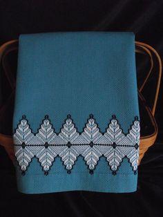 Vintage Swedish Weave Blue Huck Toweling Hand Towel via Etsy