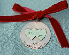 Personalized Ornament Hand Stamped Ornament by 3LittlePixiesShoppe, $28.00