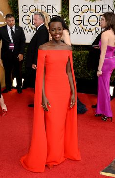 Lupita Nyong'o | Fashion On The 2014 Golden Globes Red Carpet via BuzzFeed