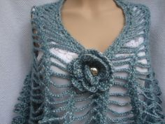 Teal Turquoise Greens shawl poncho cowl by cookieletta on Etsy, $95.00