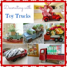 Add a touch of whimsy to your home! Repurpose old toy trucks and use them in your home decor. These are cute ideas!
