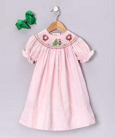 Pink Wreath Bishop Dress & Green Bow