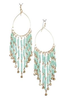 Turquoise and Gold Beaded Dangle Earrings - $14.00 : FashionCupcake, Designer Clothing, Accessories, and Gifts