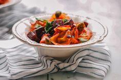 Tortellini and caramelised beet warm salad