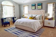 House of Turquoise: Sita Montgomery Interiors - peach, gray and blue bedroom with a beautiful upholstered bed and white bedside tables
