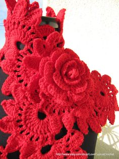 CROCHET SCARF, NECKWARMER Red Rose