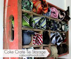 storage solutions, storag organ, decor storag, crate tie, coke crate, tie storag, ties, diy, crates