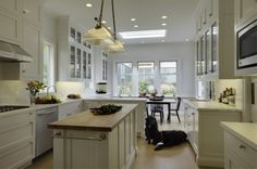 great idea for long narrow kitchen island!