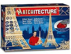 """This Matchitecture Eiffel Tower matchstick kit includes everything needed to make this matchstick model kit.  Included are all the pre-cut card formers along with the glue, matchticks and full instructions.  These instructions will guide you through each stage of the construction until you finally achieve the finished product. We would highly recommend this Matchitecture Eiffel Tower aircraft matchstick model Kit.  Finished size of model:  L 241mm (9 1/2"""")  H 699mm (27 1/2"""")  W 241mm (9 1/2"""")"""
