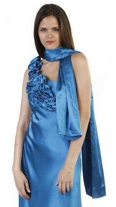 Satin Bridesmaid Gown Teal Blue Single Flower Strap Long Floor Length $117.99